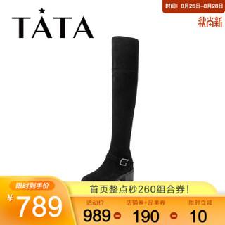 Tata/他她冬专柜同款牛皮革时尚过膝靴粗跟女长靴FC090DC9 黑色羊皮革(单里) 36