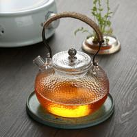 品茶忆友 锤纹玻璃茶壶 耐高温玻璃壶 可用电陶炉类似明火加热 自带过滤煮茶泡茶壶 *3件