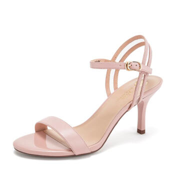 Tata 他她 女士纯色细高跟一字带凉鞋2DZG7BL9 粉色38