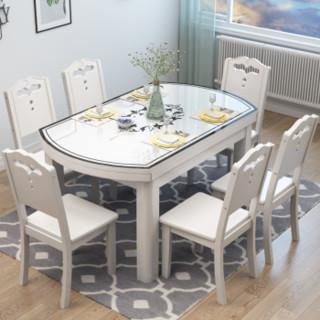 上林春天   实木餐桌 可伸缩折叠实木餐桌椅组合人造大理石餐桌椅套装 圆形饭桌子钢化玻璃餐桌餐厅家具 胡桃色1.35(钢化玻璃桌面) 一桌六椅