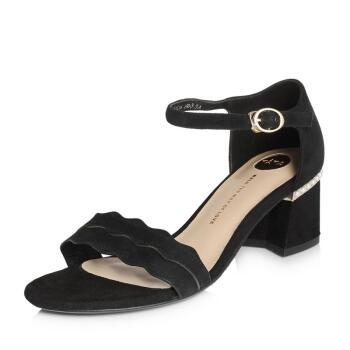 Tata 他她 女士粗中跟纯色一字式扣带凉鞋2IC06BL8 黑色34