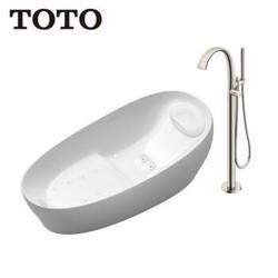 TOTO气泡按摩冲浪浴缸太空眠入浴技术PJYD2200PW+单柄浴缸龙头