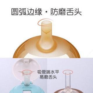 世喜吸管杯 婴儿学饮杯 儿童水杯 宝宝吸管奶瓶PPSU带重力球套装(300ML吸管杯+10个月以上奶嘴+14cm吸管)