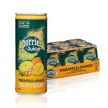 perrier 巴黎水 含气饮料 菠萝+芒果味 250ml*24罐