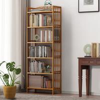 安尔雅 多层简易书架落地非实木组合书柜楠竹置物层架书房展示收纳架储物架博古架  六层50cm长