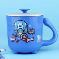 迪士尼两用儿童水杯婴幼儿保温牛奶杯宝宝卡通可拆卸不锈钢喝水训练小口杯子带盖250ML蓝色漫威