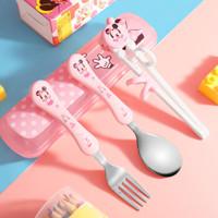 迪士尼(Disney)儿童餐具套装 宝宝吃饭训练学习筷子 不锈钢叉勺便携收纳盒四件套  米妮
