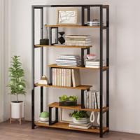家乐铭品 书柜书架 创意简易玄关书架1.0米加宽自由组合落地置物架现代简约客厅柜子 L2104 钢架6层加宽 木纹拼色