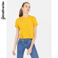 Stradivarius 黄色圆领宽松短袖T恤女ins潮2020新款 02520446306