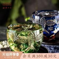 中国国家博物馆海晏河清手工玻璃杯浮雕杯子复古酒杯家用水杯礼盒
