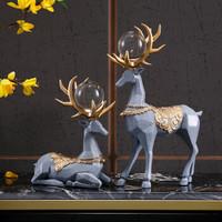 Hoatai Ceramic 华达泰陶瓷 创意奥丁鹿灰色一对摆件