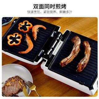 无言(silencare)家用多功能牛排煎锅机电烤盘煎烤机双面拆卸烤盘可控温可180度SC-K305 305珍珠白