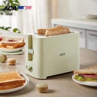 北美电器(ACA)面包机多功能多士炉6档烘烤不锈钢2片烤吐司机加热机三明治机早餐机 AT-P068A