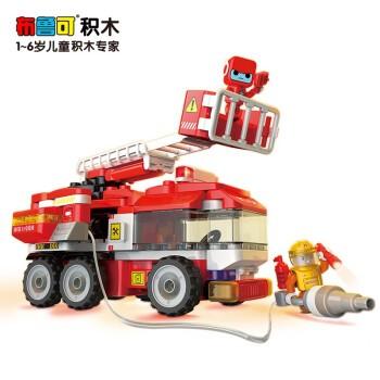 布鲁可 大颗粒积木 交通工具系列 城市英雄主题 百变云梯消防车M2
