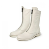 BeLLE 百丽 女士牛皮革前拉链中筒皮靴80412DZ9 白色37