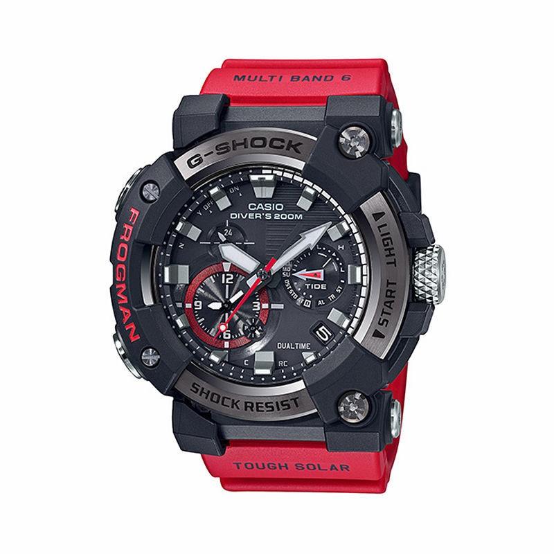 CASIO 卡西欧 航海系列 GWF-A1000-1A4PR 53.3mm 男士太阳能手表 黑盘 红色橡胶带 圆形