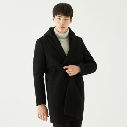 GXG 174226527 男士羊毛大衣 黑色 180/XL