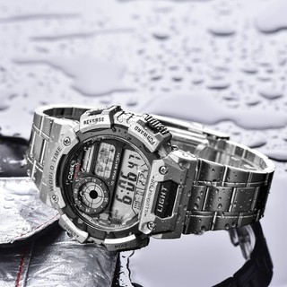 CASIO 卡西欧 STANDARD系列 AE-1400WHD-1A 51.4mm 男士电子手表 灰盘 银色精钢表带 圆形