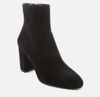 STUART WEITZMAN 斯图尔特·韦茨曼 Tinsley 80系列女士绒面革尖头拉链粗高跟踝靴