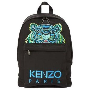 KENZO 凯卓 男士老虎刺绣帆布双肩包 黑色/蓝色大号