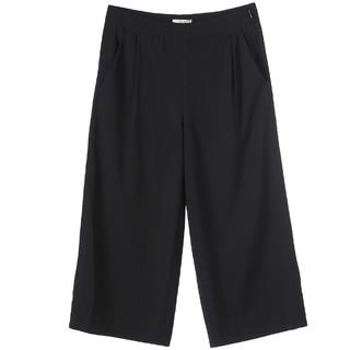 FINITY黑色阔腿裤女夏薄款宽松高腰垂感七分裤韩版直筒休闲宽腿裤