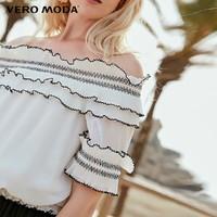 Vero Moda 31926X514 女子一字肩雪纺衫