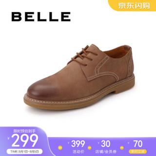 百丽工装鞋男夏季商场新款牛皮商务休闲系带低帮鞋B3HA7BM9 棕色 39