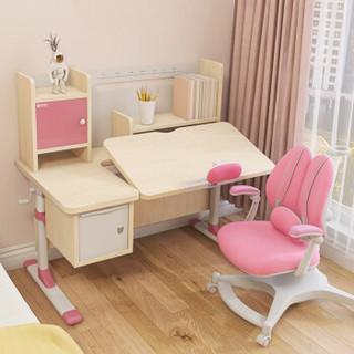 坐得正 儿童学习桌椅 小学生写字桌椅套装 可升降写字桌香杉实木桌+三背扶专利纠姿