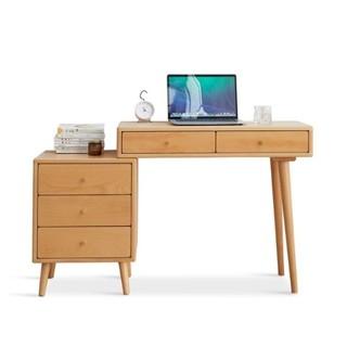 VISAWOOD 维莎原木 实木书桌梳妆台一体组合