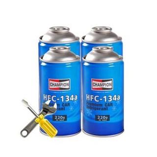 京东PLUS会员 : 途虎养车 冠军冷媒套餐 HFC-134a 汽车空调制冷剂 4瓶装+工时