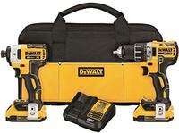 DEWALT DCK283D2 MAX XR 20V 锂离子电池电钻+冲击起子套装