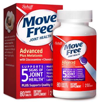 Move Free益节睡眠片氨糖紫瓶 美国进口褪黑素 改善睡眠 失眠助眠 成人中老年人帮助睡眠维骨力护关节 80粒