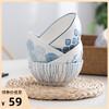松发日式手绘荷口边碗4个装个性餐具创意陶瓷碗汤碗面碗甜品碗