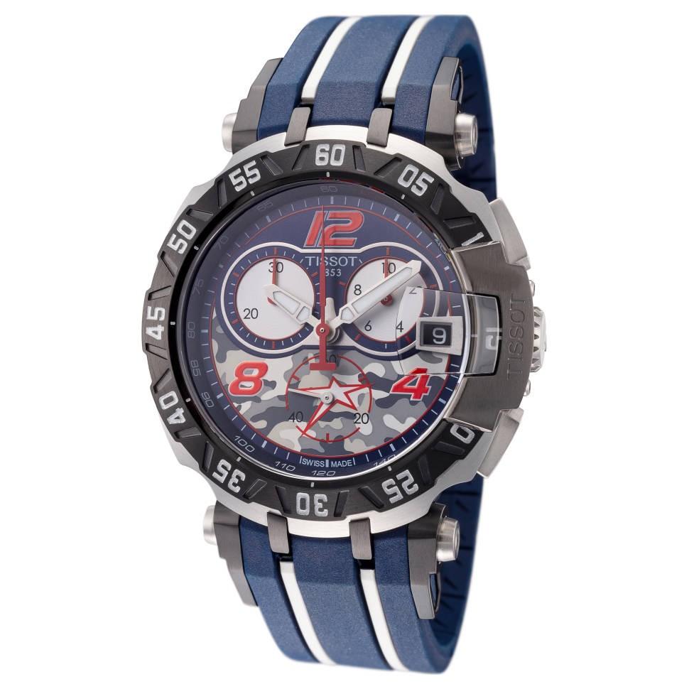 TISSOT 天梭 T092.417.27.057.04 45mm 男士石英手表 迷彩盘 蓝色橡胶带 圆形
