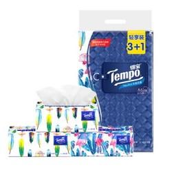 得宝(Tempo) Mini系列抽纸 4层80抽面巾纸*4包纸巾 天然无香 *3件