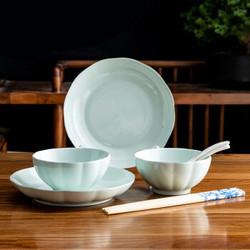 绒花瓷言 中式釉下彩陶瓷碗盘碟套装 青瓷 8件套装