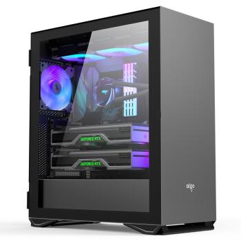 爱国者(aigo)YOGO M2 PRO 钛灰色   游戏鞋盒电脑机箱  E-ATX/ATX主板/360冷排/侧拉式钢化玻璃/可竖装显卡
