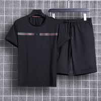 【短袖+短裤】运动套装男短袖休闲印花运动服男装套装