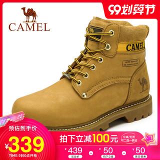 Camel骆驼男靴冬季保暖靴子真皮短靴高帮马丁靴潮工装靴大黄靴 男 *2件