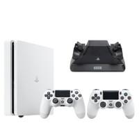 SONY 索尼 PlayStation 4 Slim+白色双手柄 游戏机套装 500GB 白色
