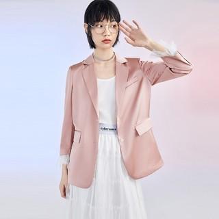PEACEBIRD 太平鸟 女士薄款垂感缎面小西装外套 粉红色S