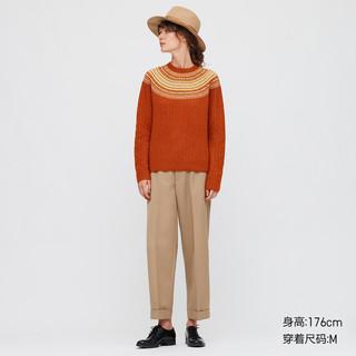 UNIQLO 优衣库 女士圆领修身长袖3D提花针织衫432087