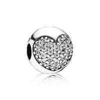 PANDORA 潘多拉 791053CZS 银色心形密镶925银固定夹 *2件