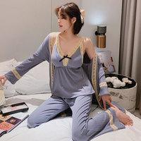 PEANOJEAN 6774 蕾丝吊带睡衣三件套