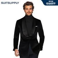 Suitsupply-Washington黑色棉质平纹男士礼服西装上衣