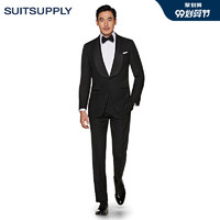Suitsupply-Washington黑色羊毛平纹特别修身男士礼服西装套装