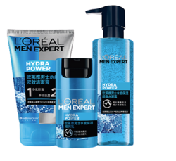 欧莱雅(LOREAL)男士水能玻尿酸护肤套(洁面+水凝露+滋润乳)洗面奶男