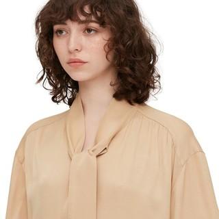 UNIQLO 优衣库 女士纯色五分袖蝴蝶结领宽松连衣裙430968