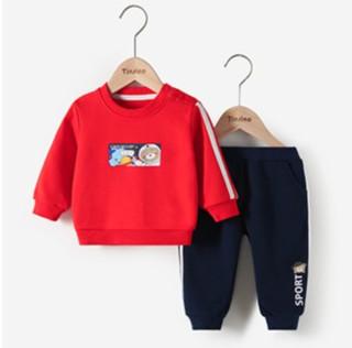 TINSINO 纤丝鸟 纤丝鸟 TINSINO 童装儿童卫衣套装男女童春季外出运动两件套婴儿衣服 太空小熊石榴红 110