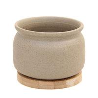 世纪奥桥 肉肉花盆仿茶罐形拇指花盆含木托 WY4002